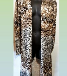 JM COLLECTION-printed open front cardigan